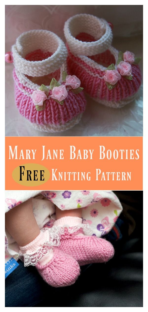77320542a Mary Jane Baby Booties Free Knitting Pattern | Booties / Slippers ...