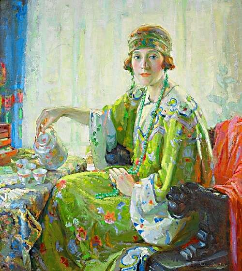 Five O'clock Tea (A Portrait of Mrs. Elwood Riggs)   Christian von Schneidau