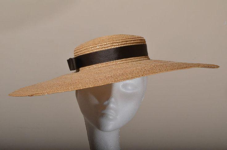 Selfrigdes London  Paris Pancake rare wide brimmed straw hat oversize boater hat