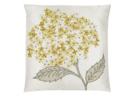 Hydrangea Embroidered Cushion This striking feature cushion is hand-worked with dip-dyed ribbon to create these beautifully embroidered hydrangeas in soft camomile shades. 60% polyester, 40% cotton.