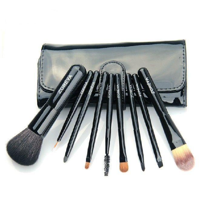Hot Sale Nine Pieces Make Up Blusher Brush Black