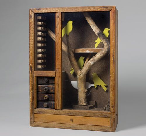 Joseph Cornell, Untitled (Aviary with Yellow Birds), c. 1948. © The Joseph and Robert Cornell Memorial Foundation/Licensed by VAGA, New York...