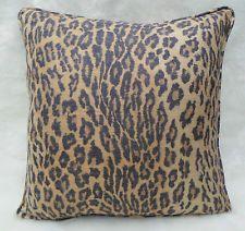 "Ralph Lauren Fabric Cushion Cover ~  'Kano Silk Leopard Blonde' 100% Silk ~ 18"""