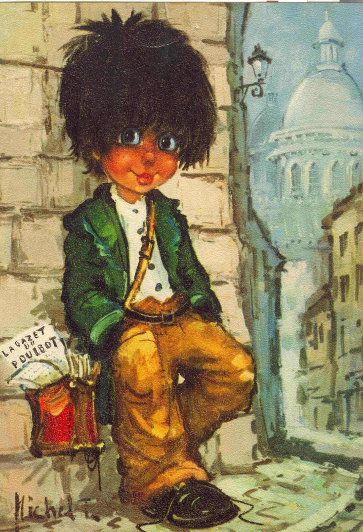 "Vintage big eyed art by Michel Thomas. ""Poulbot"" Newspaper boy in Paris."