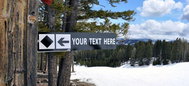 Personalized Ski Sign - Experts Only, Black Diamond Ski Sign