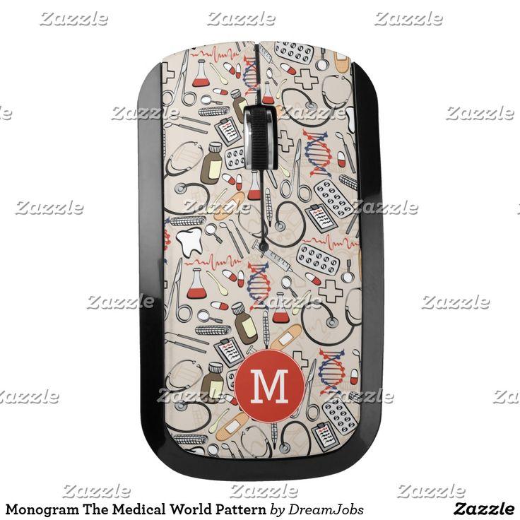 Monogram The Medical World Pattern. Producto disponible en tienda Zazzle. Tecnología. Product available in Zazzle store. #wireless #mouse
