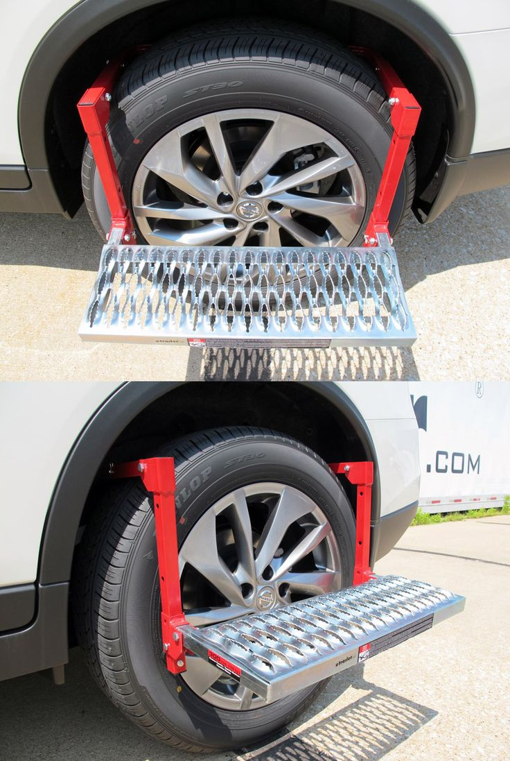 Wheel mounted utility step provides a sturdy platform so that you can step up to reach your roof-mounted cargo carrier, wash your windshield or work under your hood. Made to fit you Truck, SUV or RV and folds flat for compact, space saving storage between uses. A super unique, TOP gift idea for him!