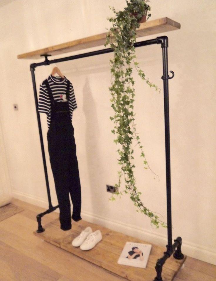 Vintage Industrial Looking Clothes Rail / Wardrobe / Shoe Storage / Display Rail…