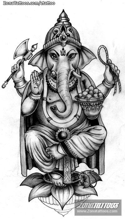 Diseño/Plantilla tatuaje Ganesha