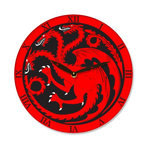 Ceas Game of Thrones    Ceas de perete cu sigiliul casei Targaryen, cei trei dragoni.