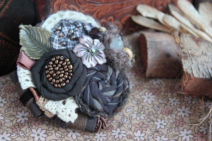 """Купить Брошь """"Таинственный лес"""" - коричневый, темно-коричневый, брошь ручной работы, брошь цветок"""