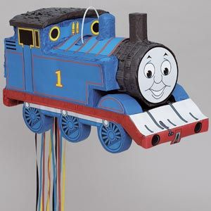 """Thomas the tank pull pinata features a colourful hangtag with tips and instructions.    Play the traditional Pinata game or create colourful decorations with our easy to fill   pinatas.  Pinata measures 10"""" high x 18"""" wide."""