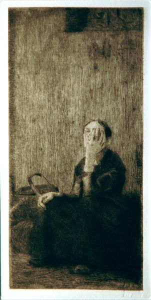 Käthe Kollwitz - An der kirchenmauer / By the Church wall: Self-Portrait (Kl. 19 VIb). Original etching, 1893. Edition: from the von der Becke edition after 1931 with his drystamp. The face and hands of the subject are clearly modelled upon Kollwitz herself, making this a self-portrait, even though, according to Nagel, its inspiration was a homeless woman sitting by a church.
