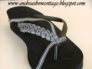 tutorial & video: Flip Flops With Flair!! inexpensive flip-flops upgraded with braided ribbon and ribbon flower