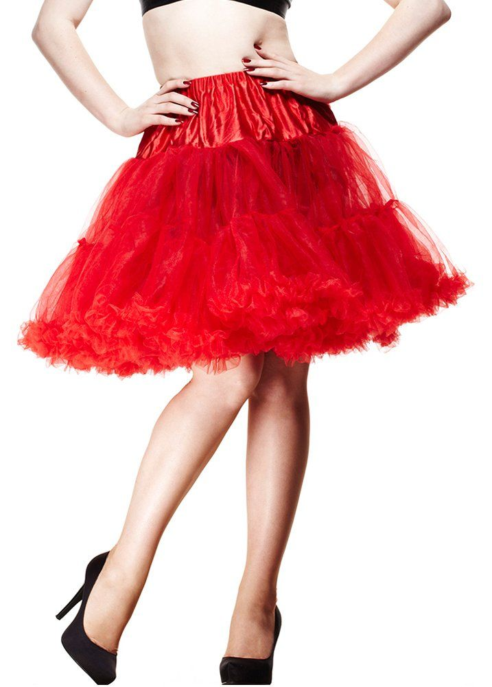 """Colectiff Spodnička Red Uni 36 - 42 (délka 23"""") Spodnička ve stylu 50. let. Krásná tylová spodnička k šatům s kolovou sukní, dokonale pozvedne výraz šatů. Bohatý objem, 2 tylové vrstvy, 100% polyester, výrazná červená barva, velikost univerzální pro vel. 36 - 42. Vhodná pro kratší typ šatů, délka cca 48 cm."""
