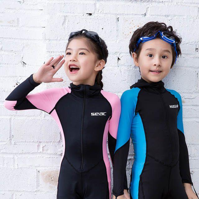 Kids Boys Girls Full Body Swimming Diving Wetsuit Long Sleeve Front Zip Swimwear