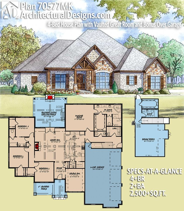 Architectural Designs House Plan 70577MK With A Bonus Over Garage. 4BR |  2+BA