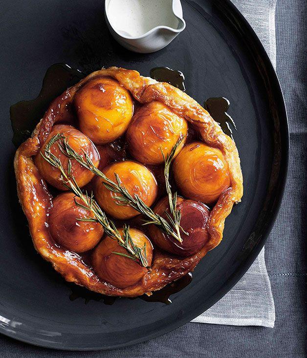 Australian Gourmet Traveller dessert recipe for peach and rosemary tarte Tatin with runny cream.