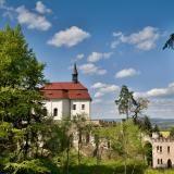 Pohled na kapli a konírnu