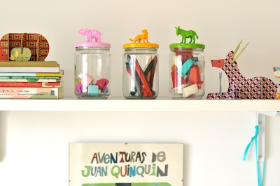 maker your own jar toy organizers with toy animal toppers