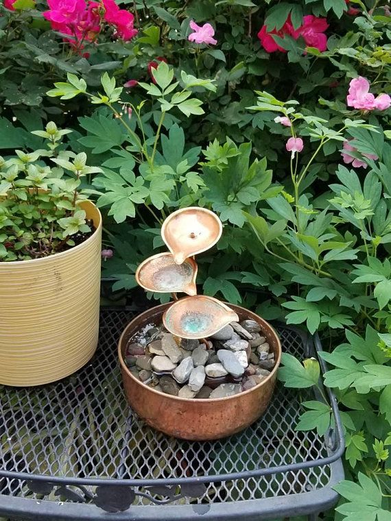 Copper Lily Pad Tabletop Fountain, Water Lilies, Copper Bowl, Water