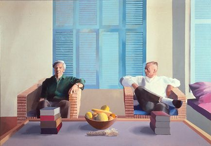 David Hockney - Christopher Isherwood and Don Bachardy, 1968  acrylic on canvas,  83 1/2 x 119 1/2 in.