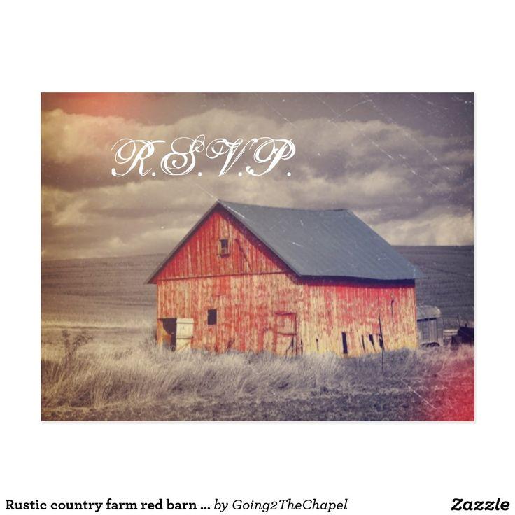 Rustic country farm red barn wedding RSVP