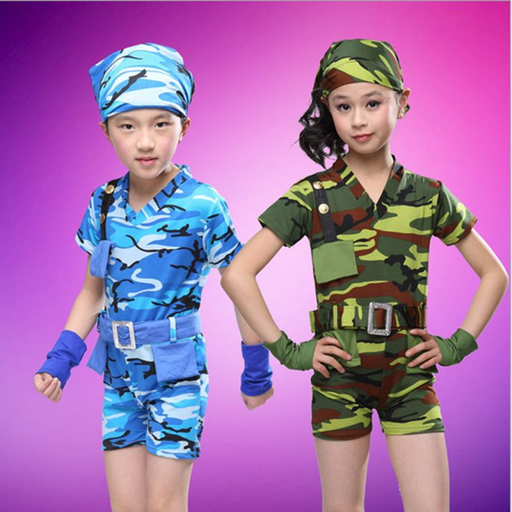 Children stage play performing costumes for boys girls unisex stage show short-sleeved military suit New camouflage uniforms