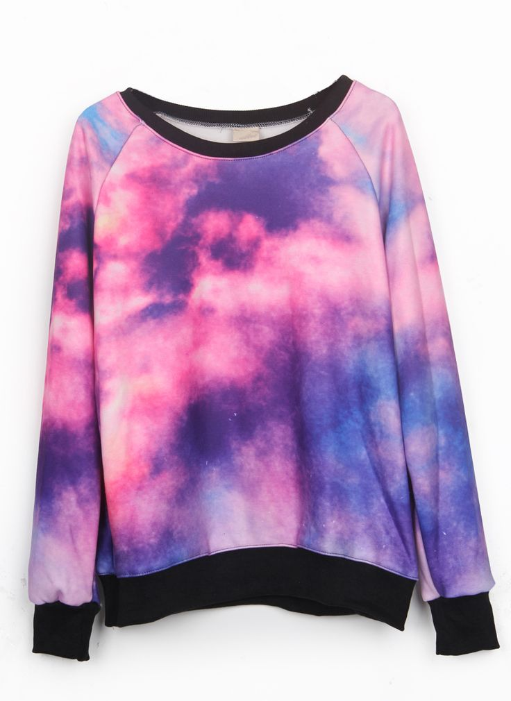 Pink Dip Dye Galaxy Print Pullover Sweatshirt - Sheinside.com #SheInside I want to paint my Vans to match this pattern.