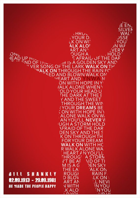 "Manager William ""Bill"" Shankly (Liverpool FC, 1959–1974). Wall decor poster 'He Made the People Happy' by Redpostbox."