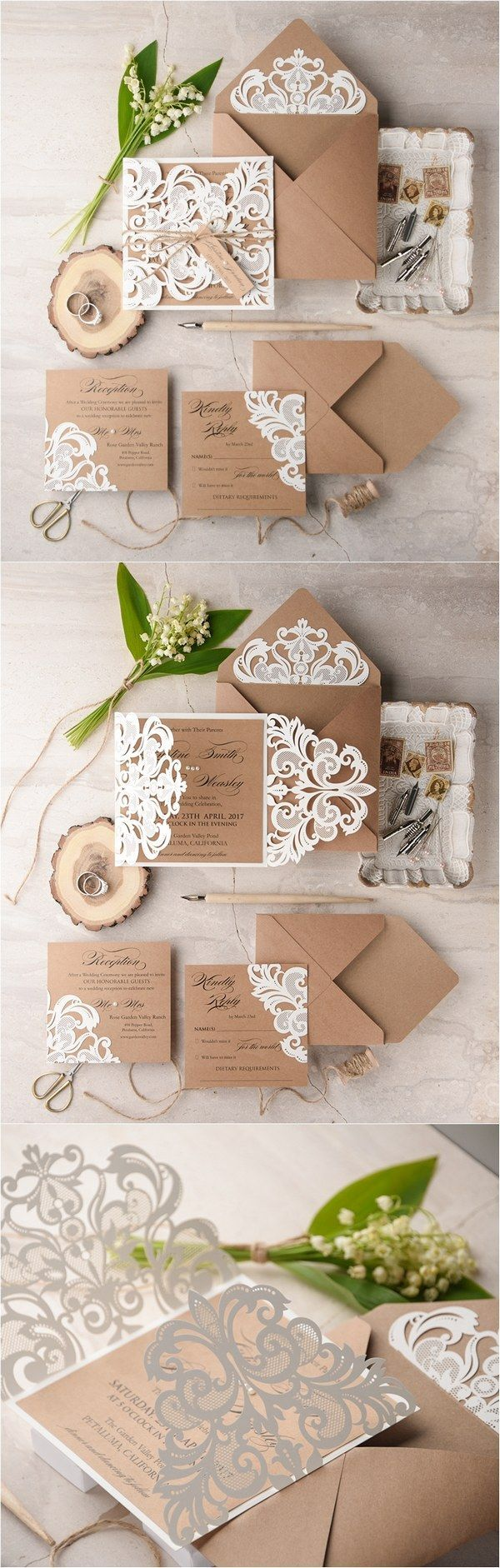 wedding card manufacturers in tamilnadu%0A Ivory kraft paper laser cut rustic wedding invitations   LuctCz    http   www