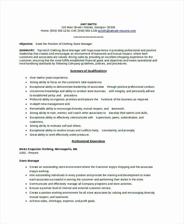 Retail Store Manager Resumes Best Of Assistant Store Manager Resume Manager Resume Resume Store Manager