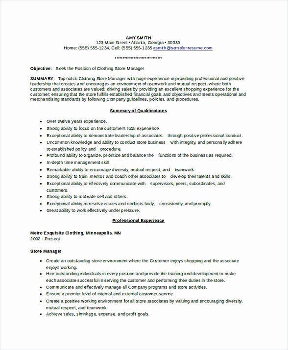Assistant Store Manager Job Description Resume New Assistant Store Manager Resume In 2020 Manager Resume Resume Store Manager