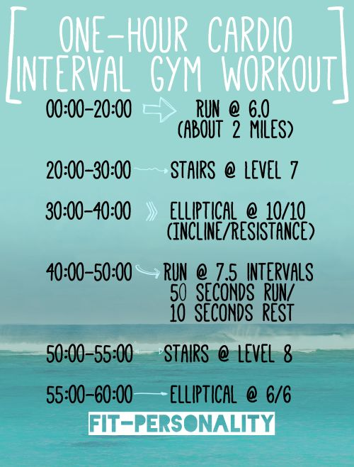fit-personality:  New cardio workout I have been doing about once a week at the gym! When I do it, I burn close to 750 calories and I am absolutely DRENCHED in sweat (which is good!). If you guys try it, let me know how it is for you. Tweet me or send me a message :)