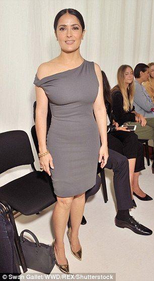Salma Hayek at Balenciaga during Paris Fashion Week