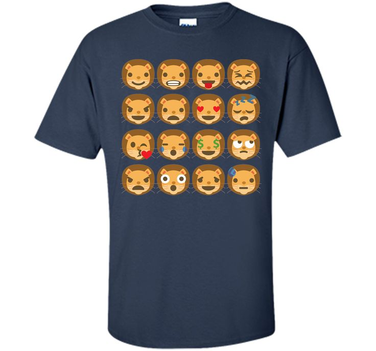 Funny Lion Emoji Different Facial Expressions T-Shirt