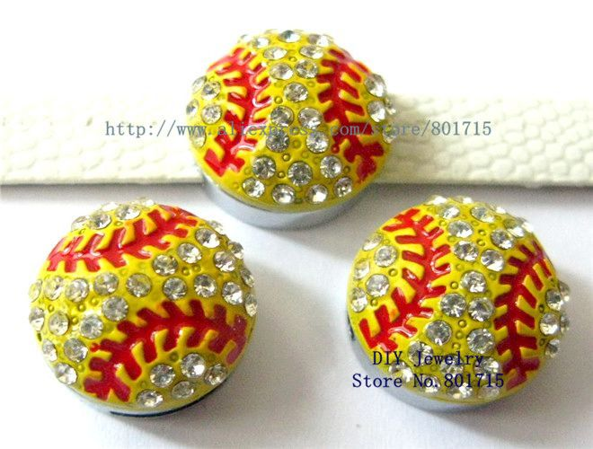 Rhinestone Ball Season!! 20pcs balls Series--Rhinestone Softball slide charms fit 8mm wristband/belt/pet collar