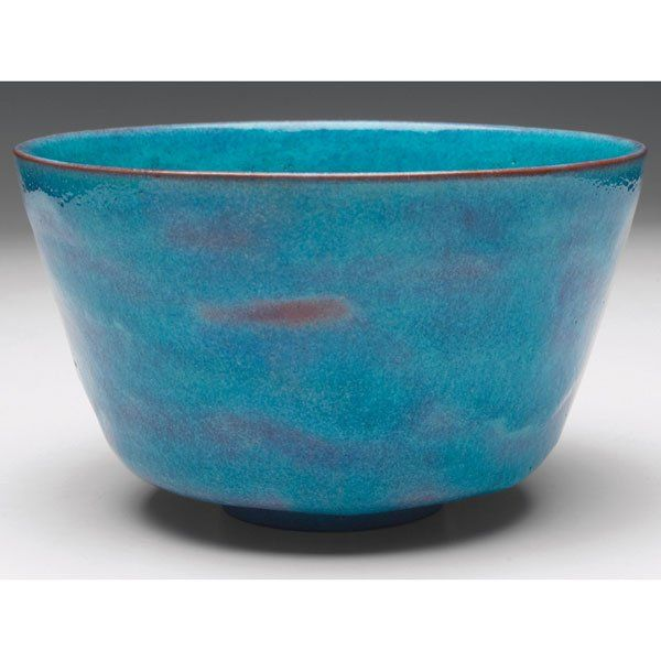 """Exceptional Gertrude and Otto Natzler bowl, red clay body covered in an unusually nice blue glaze, signed, 5.5""""w x 3.5""""h"""