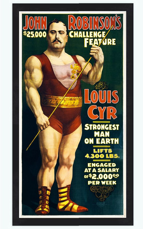 Vintage Poster strongest man on earth Louis Cyr by OldCityPrints, $29.00
