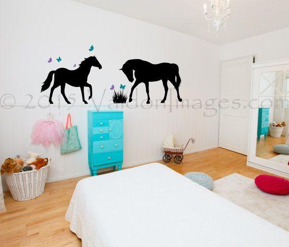 Playful horse nursery wall decal kids wall decal playroom