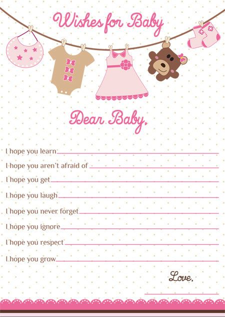 Wishes for Baby Card Girl Baby Shower WIshes for Baby