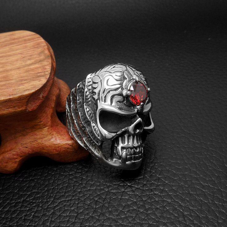 Red Stone Badass Stainless Steel Skull Ring //Price: $15.99 & FREE Shipping //     #skull #skullinspiration #skullobsession #skulls
