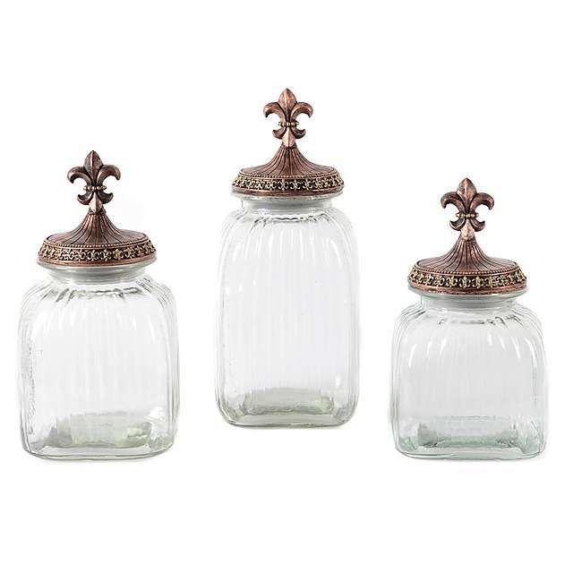 Clear Fleur-de-Lis Canister, Set of 3 | Canister sets ...