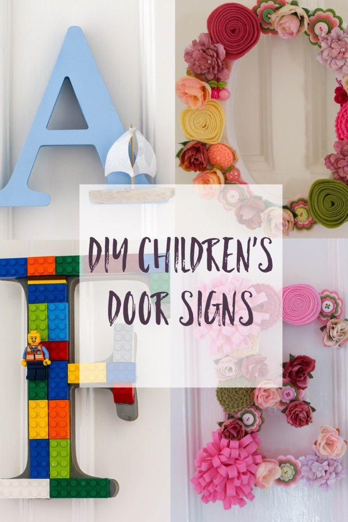 DIY Children's Room Door Letters: children's bedroom door decor with Thimbleandtwig.com Children's wooden letter door sign. Personalised Door Signs. Nameplate for bedrooms.