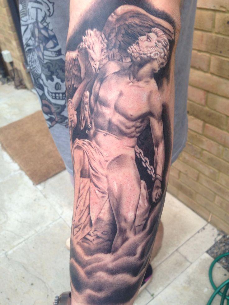 Prometheus Greek god sleeve tattoo