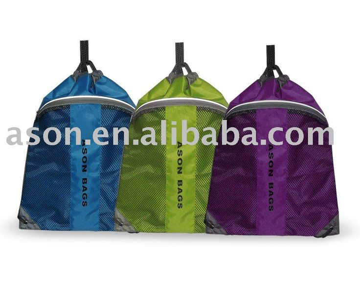 Not attached to this exact item, but the idea of drawstring backpacks with at least one outside pouch.  This one sells for 0.72-0.90 min order 5500.