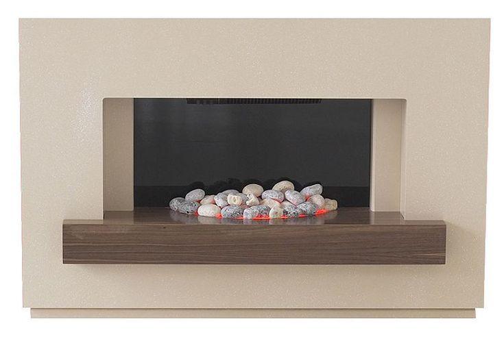 Tesco direct: Adam Sambro Fireplace Suite in Stone Effect with Walnut Shelf