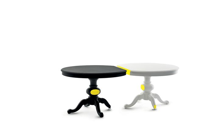 CHEZ PHILIPPE / CLAUDIO BITETTI, 2012 / Tavoli in legno massello in finitura gesso a pennello, con base in metallo. Solid wood tables plaster paint brushed finish, with metal base. /  http://www.mogg.it/Prodotti/Table/CHEZ-PHILIPPE/