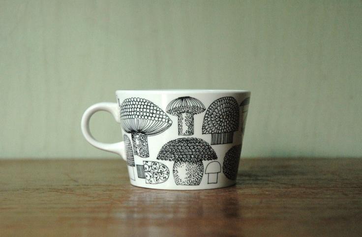 Finel Kaj Franck Mushroom Tea Cup - Rare Mushroom Pattern Arabia of Finland Cup