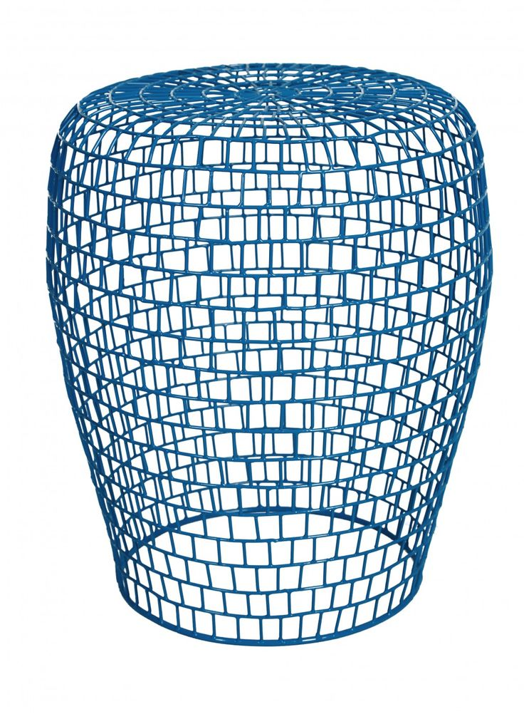 The airy linear form of the Goa Grid Stool punctuates a space without hiding it. Providing a visual lightness as well as a physical one, the Goa features a simple rounded profile and open wire weave in a bright blue finish. Mix and match with other pieces from the Goa Collection for a fun, contemporary look.